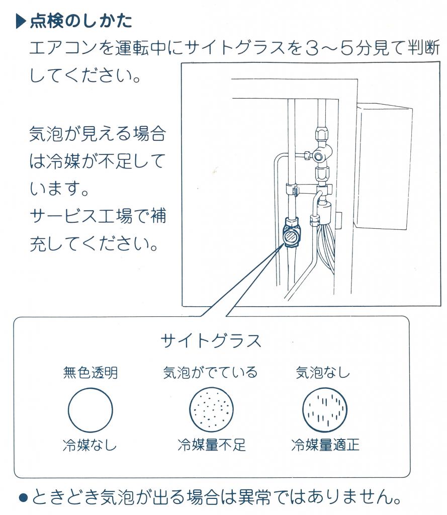 サイトグラスの点検の仕方 エアコンを運転中にサイトグラスを数分程度見てください。気泡が見える場合には冷媒が不足しているためサービス工場で補充するようにしましょう。